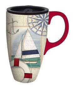 Look at this #zulilyfind! Sailboat Collage Ceramic Travel Mug by Cypress Home #zulilyfinds