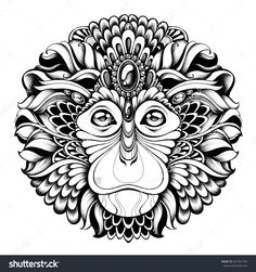 The Monkey King. Highly detailed abstract ornate zentagle monkey illustration. Head monkey with ethnic motifs. Handmade black and white graphics. Tattoo design, poster, print, T-shirt, greeting card.
