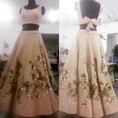 Skirt And Crop Top Indian Two Pieces Ideas Blue Lehenga, Lehenga Choli, Bridal Lehenga, Indian Attire, Indian Ethnic Wear, Indian Designer Outfits, Designer Dresses, Indian Dresses, Indian Outfits
