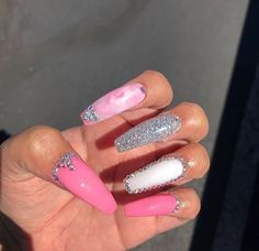 White Nail Designs for Ladies - Page 13 of 22 - That Girl's Style One Glitter Nails, Pink Acrylic Nails, Bling Nails, Swag Nails, Gel Nails, White Nail Designs, Colorful Nail Designs, Sweet 16 Nails, Long Square Nails