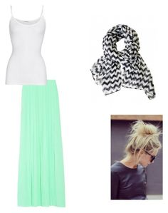 """""""mint skirt+ tank top+ messy bun+ chevron scarf"""" by lajla24 ❤ liked on Polyvore featuring American Vintage and Pink Mascara"""