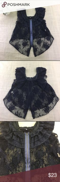 Free People Fly Away Zip Front Lace Top Free People Fly Away Zip Front Lace Top Indigo Blue Size Small Sheer Boho. Good preowned Condition minor signs of wear. See pictures for measurements. Free People Tops Blouses