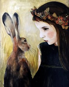 Girl with hare art print by claudiatremblay on Etsy