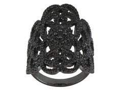 1.90ctw Round Black Spinel Black Rhodium Plated Sterling Silver Ring