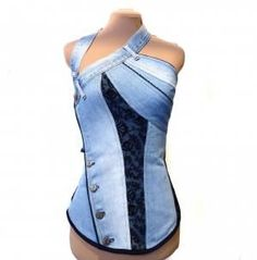 Bustier jean col ceinture et dentelle noire – Selbstgemachte Kleidung Denim Corset, Denim And Lace, Denim Top, Jean Diy, Denim Fashion, Fashion Outfits, Steampunk Fashion, Gothic Fashion, Womens Fashion
