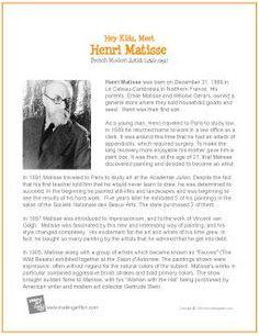 Henri Matisse | Free Printable Biography - MakingArtFun.com (scheduled via http://www.tailwindapp.com?utm_source=pinterest&utm_medium=twpin&utm_content=post716255&utm_campaign=scheduler_attribution)