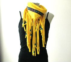 Hippie Boho Fringe Scarf with beads and flower by FeathersandFancy, $35.00