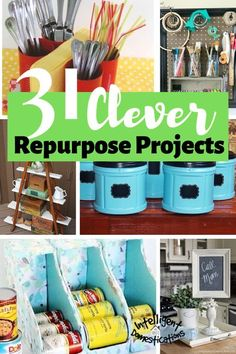 31 Clever Ideas to Repurpose common household items. Create storage and decor by repurposing things you have around the house. #repurpose #upcylce Recycled Paper Crafts, Upcycled Crafts, Diy Wall Decor, Diy Home Decor, Travel Jewelry Box, Diy Cans, Craft Room Storage, Repurposed Items, Mothers Day Crafts