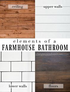 Classic farmhouse bathroom design elements: wood ceiling, shiplap upper walls, subway tile lower walls, and wood look flooring