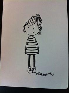 Cute Couple Drawings, Art Drawings Sketches Simple, Doodle Drawings, Easy Drawings, Cute Cartoon Girl Drawing, Girl Cartoon, Baby Animal Drawings, Planner Doodles, Doodle Girl