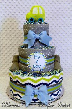 Boys Baby Diaper Cake Shower Gift or Centerpiece by www.diannasdiapercakes.com www.diannasdiapercakes.etsy.com
