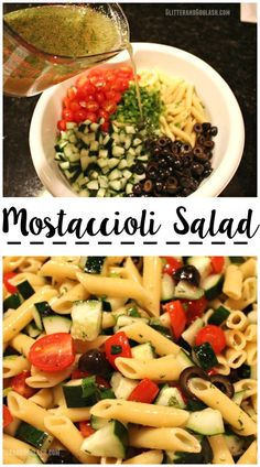 Mostaccioli Pasta Salad- This salad is the perfect cold pasta recipe to bring to a summer barbecue or potluck.there's never any leftovers! Cold Pasta Recipes, Easy Pasta Dinner Recipes, Pasta Salad Recipes, Mostaccioli Pasta Salad Recipe, Summer Salad Recipes, Summer Salads, Pasta Fagioli Recipe, Healthy Pasta Salad, Vegan Pasta