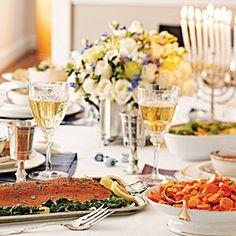 Hanukkah Dinner Menu ~Tomato Soup with Parmesan Toast, Spice-Rubbed Roasted Salmon with Lemon-Garlic Spinach, Potato-Scallion Latkes, Maple-Tangerine Carrot Coins, Chocolate-Drizzled Mandelbrot.