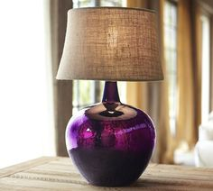 Clift Glass Table Lamp Base - Eggplant pottery barn just gets me, you know? Rustic Table Lamps, Table Lamp Base, Lamp Bases, Purple Home, Pottery Barn, Glass Jug, Glass Lamps, Glass Bottle, Lamp Design