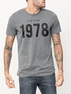 40th Birthday gift ideas for men and women in 2018. This unisex Birthday shirt features the Vintage 1978 graphic printed on a soft, vintagestyle gray t-shirt. #40thbirthday #40thbirthdaygift #birthday #birthdaygifts #1978 #vintagestyle #GiftsforHim