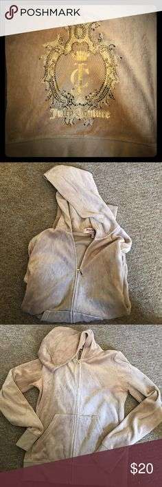 Juicy Couture velour hoodie Really beautiful light weight Juicy Couture cream color velour hoodie. Has some discoloring by armpit otherwise is in very good condition. Size medium. Juicy Couture Jackets & Coats Blazers
