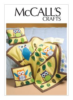 McCall's Sewing Pattern Owl Appliqué Pillows and Quilt Owl Applique, Applique Pillows, Home Design, Mccalls Sewing Patterns, Designer, Quilts, Furniture, Crafts, Manualidades