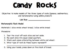 Make candy models for the 3 types of rock- find healthy alternatives, that are still fun and tasty