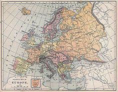 EUROPE c.1894: Antique Historical Map. Colored.