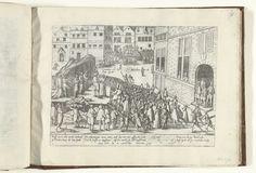 Frans Hogenberg | Terechtstelling van monniken te Gent wegens sodomie, 1578, Frans Hogenberg, 1578 - 1580 | Geseling en terechtstelling van vier franciscaner monniken te Gent op beschuldiging van sodomie, 28 juni 1578. Op de achtergrond de geseling, op de voorgrond de monniken op de brandstapel. Met onderschrift van 10 regels in het Duits. Genummerd: 19. Op dit exemplaar is het vers over sodomie in het onderschrift met papier afgeplakt (geweest).