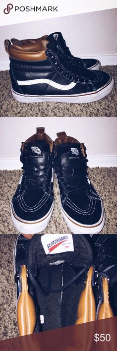 Black Sk8 Hi MTE Meant for outdoor wear. Waterproof with inverted soles for  grip. 4d8874668b7