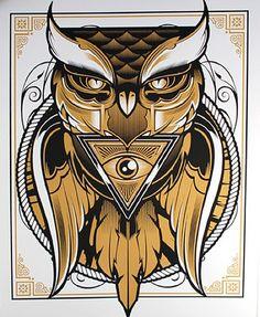 Signing and Mini Art Show at Kidrobot New York - Buho Tattoo, 4 Tattoo, Chest Tattoo, Shane Tattoo, Tattoo Life, Owl Tattoo Design, Tattoo Designs, Owl Art, Illuminati