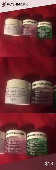 Sephora peter thomas roth fresh rose cucumber mask Mask set of 3. Includes all new sample jars of Fresh rose mask, Peter Thomas Roth cucumber gel mask, and Peter Thomas Roth rose gel mask from Sephora. All are 0.5oz each Peter Thomas Roth Makeup