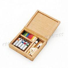 1:12 Dollhouse accessory miniature artist paint pen wooden box model toys  Nh