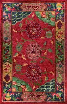 Gangchen Tibetan Handmade Wool Rug With Floral Motif