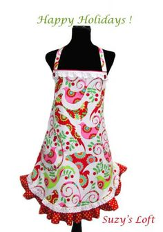 Apron —  HOLIDAY HOSTESS APRON with Festive Christmas Birds, Hot Pink, Red, Berries, Greens Polka dot Ruffles Red Piping, Eyelet Lace, Buttons — Size Medium to Large One-of-a-Kind Delightfully Handmade by SuzysLoft for $39.95