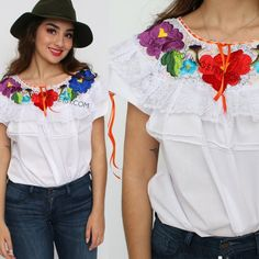 e599c830911 Items similar to White Embroiderd Mexican Blouse (Traditional Oaxaca Off  the Shoulder Boho Festival Bohemian Womens Frida Kahlo Mexican Shirt  Mexican Top ...