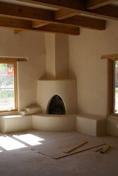 Fireplace and wood beams
