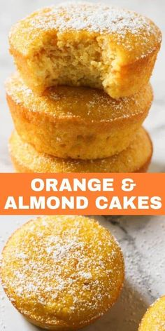 Flourless Orange and Almond Cakes are a great gluten free dessert option. These orange almond cupcakes are light and moist with just the right amount of sweetness. Serve as is, or sprinkle some icing or powdered sugar on top. Gluten Free Sweets, Gluten Free Cakes, Gluten Free Baking Recipes, Gluten Free Almond Cake, Gluten Free Banana, Köstliche Desserts, Delicious Desserts, Flourless Desserts, Flourless Cake