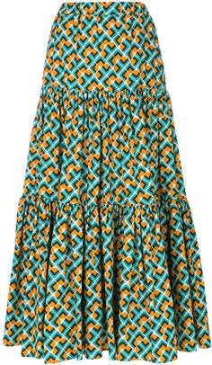 La Doublej Tiered Peasant Skirt - Farfetch - Source by awandaoc - African Print Skirt, African Print Dresses, African Print Fashion, Best African Dresses, Latest African Fashion Dresses, Peasant Skirt, Ankara Skirt, Full Skirts, Looks Chic