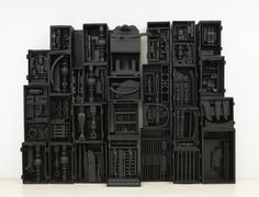 """Louise Nevelson """"Untitled"""", wood painted black © 2010 Estate of Louise Nevelson / Artists Rights Society (ARS), New York. Courtesy of The Pace Gallery Nevelson, who pioneered installation art in. Louise Nevelson, Joseph Cornell, Sculpture Projects, Sculpture Art, Art Basel Miami, Found Object Art, Outdoor Sculpture, Assemblage Art, Tumblr"""