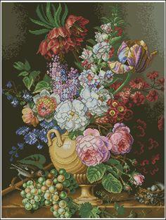 Букет цветов скачать схему. Букеты и цветочные бордюры