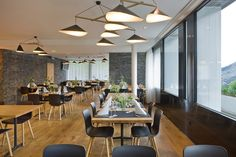Emily group of three pendant lamps in swiss restaurant by Daniel Becker Design Studio Berlin