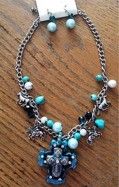 Rhinestone Chunky Turquoise Triple Cross Necklace and Earrings