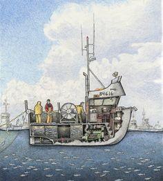 Boat Drawing, Ship Drawing, Boat Dock, Jon Boat, Trawler Yacht, Lobster Boat, Living On A Boat, Fishing Vessel, Boat Engine