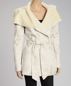 Take a look at this Natural Belted Shearling Jacket by G.E.T. on #zulily today!