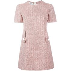 Pierre Cardin Vintage Herringbone Print Dress ($1,603) ❤ liked on Polyvore featuring dresses, red, pattern dress, vintage day dress, pink red dress, vintage pink dress and short sleeve dress