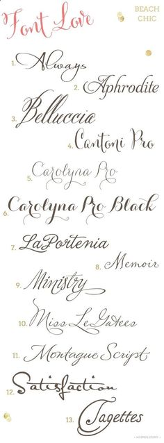 Beach Chic Wedding Invitation Fonts
