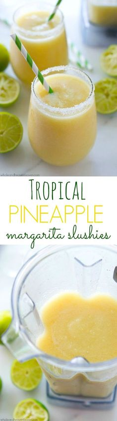 You'll feel like you took a trip to the tropics after one sip of these icy-cold, tropical-style margarita slushies! 5 minutes and a few basic ingredients is all you need! /WholeHeavenly/