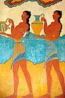 Photo of the Frescos of the  South Propylaeum of Knossos Minoan archaeological site, Crete
