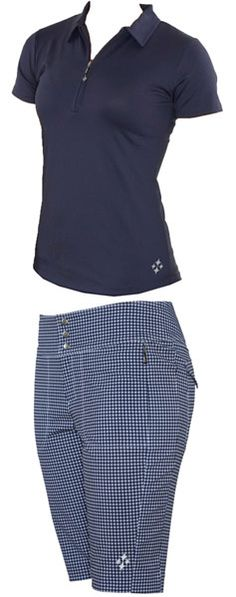 4all by JoFit Ladies Golf Outfits (Shirt & Shorts) - Alexandria (Gingham Navy & White) | via @lorisgolfshoppe