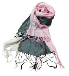 Beautiful scarf with vivid striping in vanilla, pink and gray.