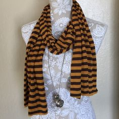 Brown & Yellow Stripped Cotton Scarf Brown & Yellow Stripped Cotton Scarf Accessories Scarves & Wraps