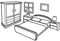 Within these beautiful and modern bedroom coloring pages, you'll find a creative opportunity to relax and unwind. This sheet is not just an invitation to Colouring Pages, Coloring Sheets, Coloring Pages For Kids, Coloring Books, Preschool Number Worksheets, Bedroom Drawing, Black And White Stickers, Drawing Sheet, Learn Art