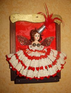 Dollface Number 1  Mixed Media Assemblage by SayCheeseDollface, $225.00    Dollface Number 1 - Mixed Media Assemblage Framed Sculpture ART DOLL by Sarah Tacoma