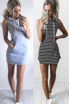 Sexy Fashion Stripe Print Hooded Short Sleeve Bodycon Mini Dress